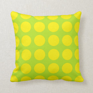 Yellow Polka Dots Lime Green Throw Pillow