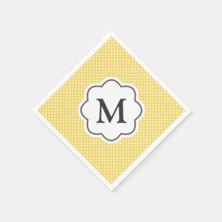 Yellow Polka Dots Monogram Napkins Paper Napkins