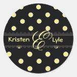 Yellow polka dots monogram stickers