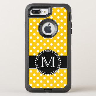 Yellow Polka Dots, Monogrammed OtterBox Defender iPhone 8 Plus/7 Plus Case