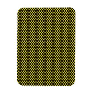 Yellow Polka Dots on Black Rectangular Photo Magnet
