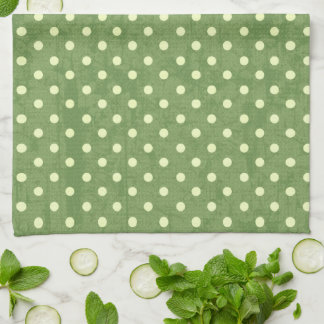 Yellow Polka Dots on Green Grunge Kitchen Towel