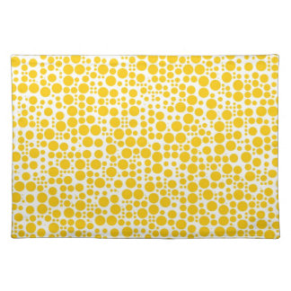 Yellow Polka Dots on White Background Placemats