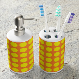 Yellow Polka Dots Orange Soap Dispenser And Toothbrush Holder