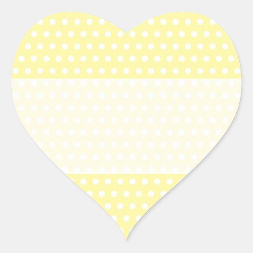Yellow polka dots pattern. Spotty. Heart Sticker
