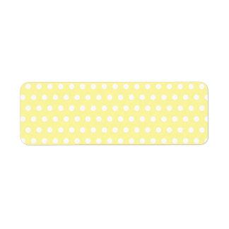 Yellow polka dots pattern. Spotty. Return Address Label