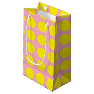 Yellow Polka Dots Pink Small Gift Bag