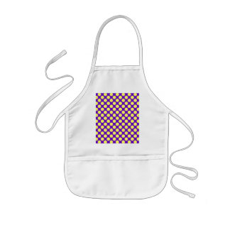 Yellow Polka Dots With Purple Background Kids Apron