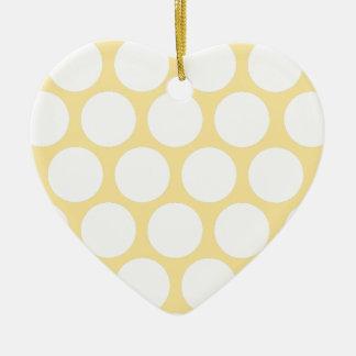 Yellow polka doty ceramic heart decoration