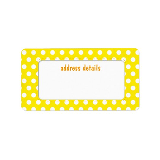 Yellow Polkadot Address Label