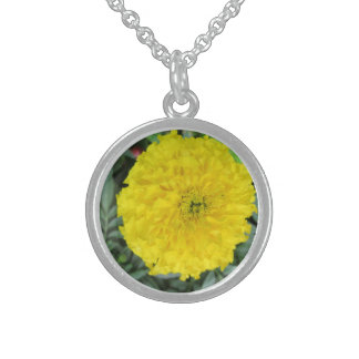 Yellow Pompom Marigold Sterling Silver Necklace
