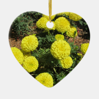 Yellow Pompom Marigolds Garden Plants Christmas Tree Ornament