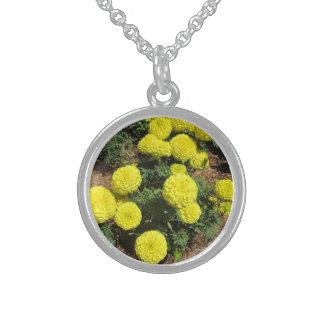 Yellow Pompom Marigolds Garden Plants Sterling Silver Necklaces