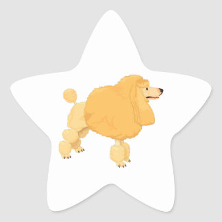 Yellow Poodle Dog Star Stickers
