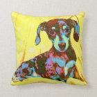 yellow pop art dachshund cushion
