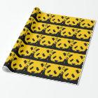 Yellow Pop Art Panda Christmas Gift Wrapping Paper