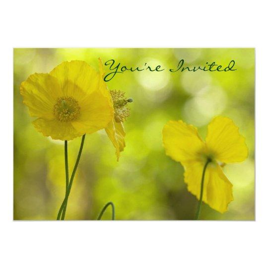 Yellow Poppies Photo 13 Cm X 18 Cm Invitation Card