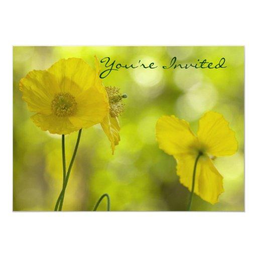 Yellow Poppies Photo Invitation