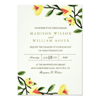 Yellow Poppies Wedding Invitation