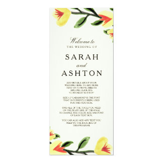 Yellow Poppies Wedding Program 10 Cm X 24 Cm Invitation Card