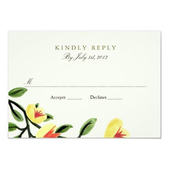 Yellow Poppies Wedding RSVP Card