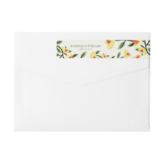 Yellow Poppies Wedding Wrap Around Label