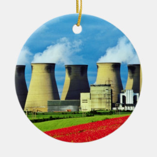 Yellow Poppy field and Ferrybridge power station, Round Ceramic Decoration