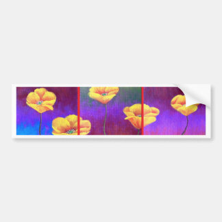 Yellow Poppy Flower Painting - Multi Bumper Sticker
