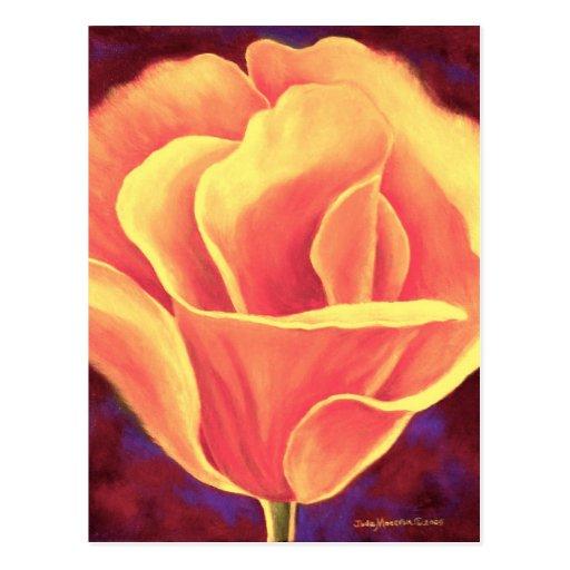 Yellow Poppy Flower Painting - Multi Postcard