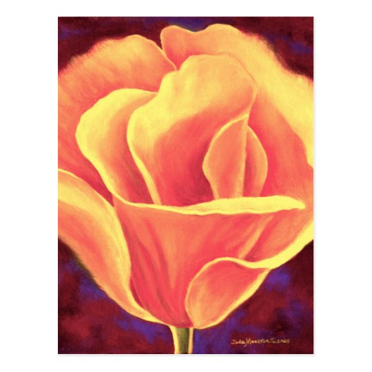Yellow Poppy Flower Painting - Multi Postcard