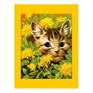 Yellow postcard with cat sitting in flowerbed