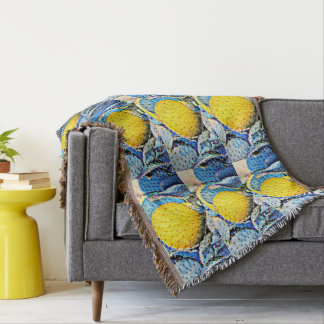Yellow Prickly Pear Throw Blanket