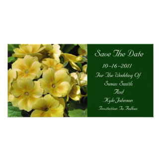 Yellow Primrose Flower Wedding Save The Date Personalised Photo Card