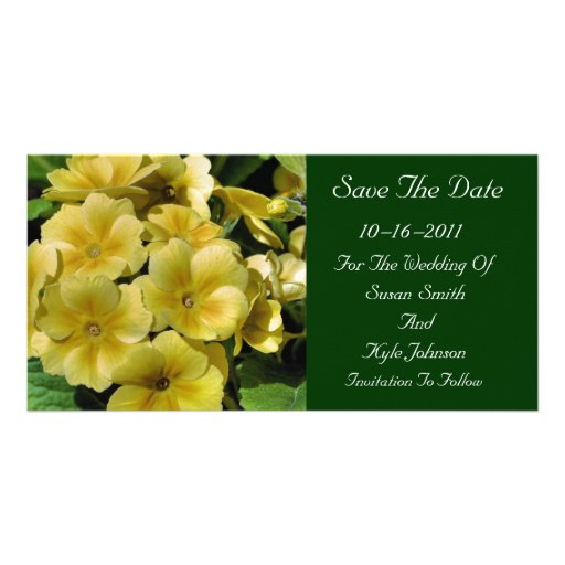 Yellow Primrose Flower Wedding Save The Date Customized Photo Card