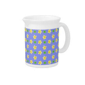 Yellow Primroses and Green Polkas on Violet Blue Pitcher