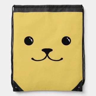 Yellow Puppy Cute Animal Face Design Drawstring Bag