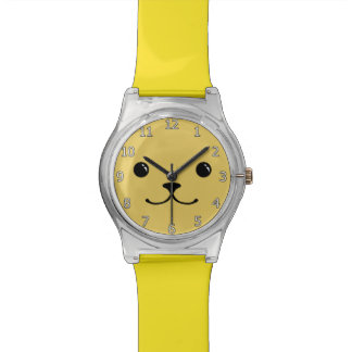Yellow Puppy Cute Animal Face Design Wristwatch