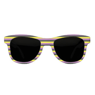 Yellow, Purple and Black Stripes Sunglasses