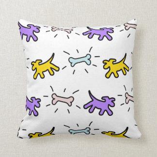 Yellow Purple Dogs Bones Graffiti Style Pillow