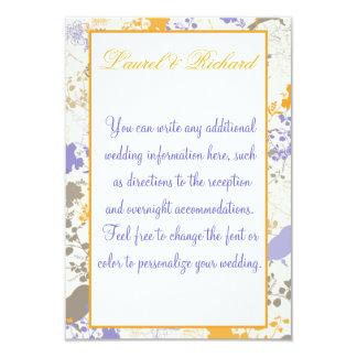 Yellow & Purple Floral Wedding Reception 9 Cm X 13 Cm Invitation Card