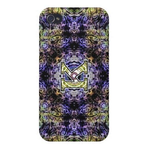 Yellow Purple Fractal Electricity K iPhone 4/4S Cover