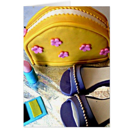 Yellow, purple girl's dress up game birthday cake card