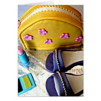 Yellow, purple girl's dress up game birthday cake greeting card