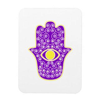 Yellow Purple Hamsa-Hand of Miriam-Hand of Fatima. Rectangular Photo Magnet