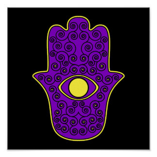 Yellow Purple Hamsa-Hand of Miriam-Hand of Fatima. Poster