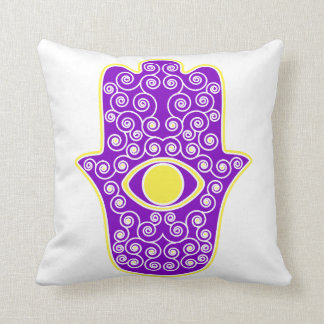 Yellow Purple Hamsa-Hand of Miriam-Hand of Fatima. Throw Pillow