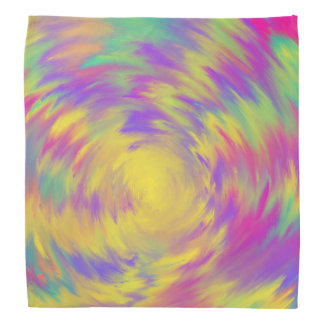 Yellow Purple Pink Aqua Spiral Abstract Art Design Bandana