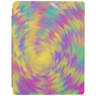 Yellow Purple Pink Aqua Spiral Abstract Art Design iPad Cover