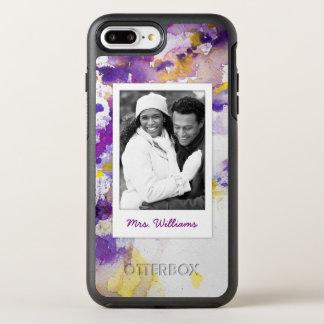 Yellow & Purple Watercolor   Add Photo OtterBox Symmetry iPhone 8 Plus/7 Plus Case