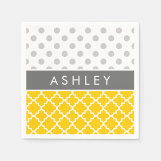 Yellow Quatrefoil and Grey Polka Dot Pattern Paper Napkin
